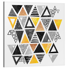 Alubild  Triangle abstract   Black and yellow - Elisabeth Fredriksson