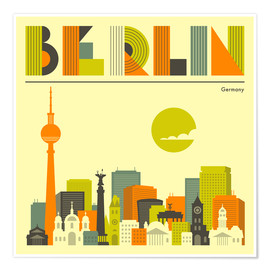 Premium-Poster  Berlin Skyline - Jazzberry Blue