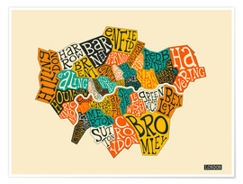 Premium-Poster  London Boroughs - Jazzberry Blue