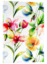 Acrylglasbild  Wildblumen in Aquarell