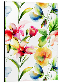Alubild  Wildblumen in Aquarell