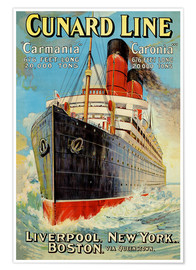 Premium-Poster Cunard Line - Liverpool, New York, Boston