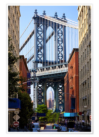 Premium-Poster  Manhattan Bridge und Empire State Building
