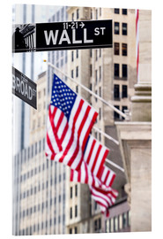 Acrylglas  Wall Street-Zeichen mit New York Stock Exchange