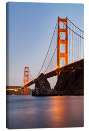 Leinwandbild  San Francisco Golden Gate Bridge bei Sonnenuntergang