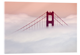 Acrylglasbild  Golden Gate Bridge in den Wolken