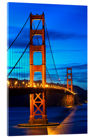 Acrylglasbild  Golden Gate Bridge bei Sonnenuntergang, San Francisco