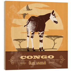 Holzbild  Kongo - Okapi - Kidz Collection