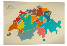 Ingo Menhard - Schweiz Landkarte Modern Map Artwork Design