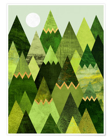 Premium-Poster Forest Mountains