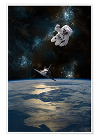 Premium-Poster  Astronaut schwebt im All - Marc Ward