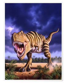 Jerry LoFaro - A Tyrannosaurus Rex attacks, lit by the late afternoon sun.