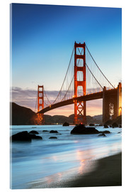 Acrylglasbild  Golden Gate Bridge in der Dämmerung von Baker Beach, San Francisco, Kalifornien, USA - Matteo Colombo