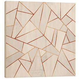Holzbild  White Stone and Copper Lines - Elisabeth Fredriksson