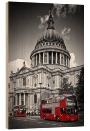 Holzbild  LONDON St  Paul's Cathedral und Red Bus - Melanie Viola