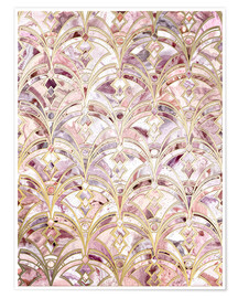 Micklyn Le Feuvre - Dusty Rose und Coral Art Deco Marmorierung Muster