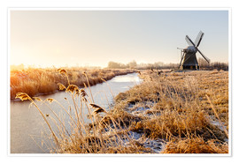 Premium-Poster  Windmill near Sande at cold winter morning - Reemt Peters-Hein