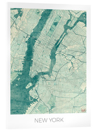 Acrylglasbild  New York Karte Blau - Hubert Roguski