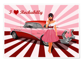 Premium-Poster I love Rockabilly