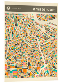 Acrylglasbild  AMSTERDAM MAP - Jazzberry Blue
