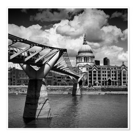 Premium-Poster LONDON Millennium Bridge und St Paul's Cathedral