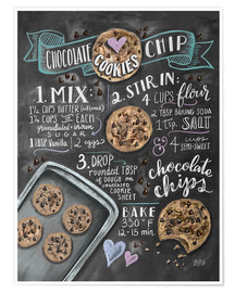 Premium-Poster  Chocolate-Chips-Kekse Rezept (Englisch) - Lily & Val