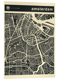 Acrylglasbild  AMSTERDAM CITY MAP - Jazzberry Blue