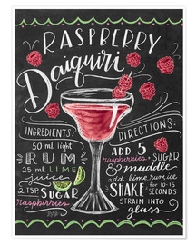 Premium-Poster  Himbeer-Daiquiri Rezept (Englisch) - Lily & Val