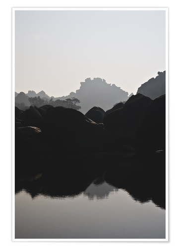 Premium-Poster Fluss in Hampi Indien