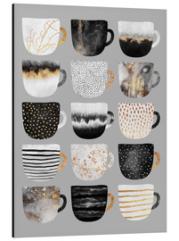 Alubild  Pretty Coffee Cups 3   Grey - Elisabeth Fredriksson