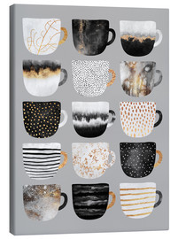 Leinwandbild  Pretty Coffee Cups Grey - Elisabeth Fredriksson