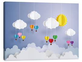 Leinwandbild  Ballonfahrt in den Wolken - Kidz Collection