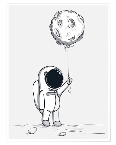 Premium-Poster Moon Balloon