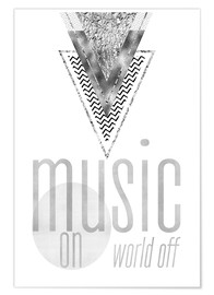 Premium-Poster  GRAPHIC ART SILBER Music on World Off - Melanie Viola