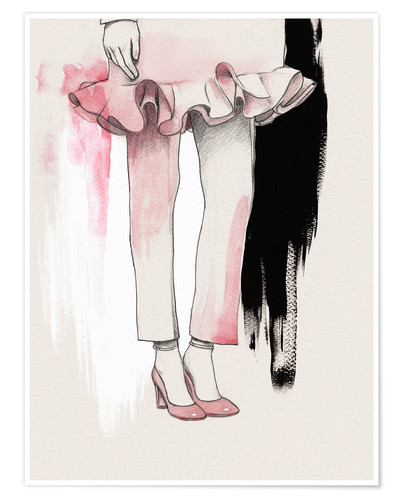 Premium-Poster Mode-Illustration Rosa Schuhe