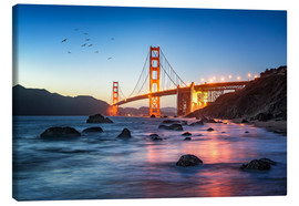Leinwandbild  Golden Gate Bridge bei Sonnenuntergang in San Francisco, USA - Jan Christopher Becke