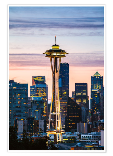 Premium-Poster Space Needle bei Sonnenaufgang, Seattle