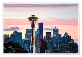 Premium-Poster Space Needle und Seattle Skyline, USA