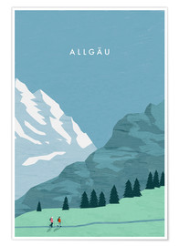 Premium-Poster Allgäu Illustration