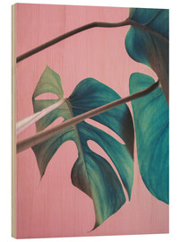 Holzbild  Sweet pink monstera leaves - Emanuela Carratoni