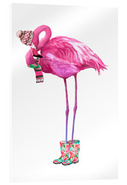 Acrylglasbild  Rosa Flamingo mit Gummistiefeln - Kidz Collection