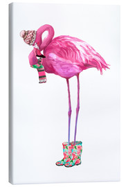 Leinwandbild  Rosa Flamingo mit Gummistiefeln - Kidz Collection
