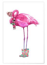 Premium-Poster  Rosa Flamingo mit Gummistiefeln - Kidz Collection
