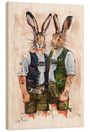 Holzbild  GAY RABBITS - Peter Guest
