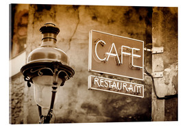 Acrylglasbild  Cafe sign and lamp post, Paris, France. - age fotostock