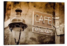 Alubild  Cafe sign and lamp post, Paris, France. - age fotostock