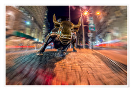 Premium-Poster Wall Street bull at nighttime, Bowling Green; New York City, New York, United States of America