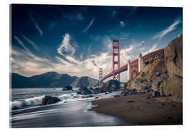 Acrylglasbild  Strand und Golden Gate Bridge - Westend61