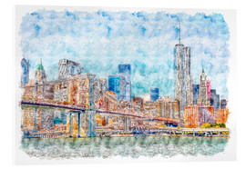 Acrylglasbild  New York Skyline mit Brooklyn Bridge - Peter Roder