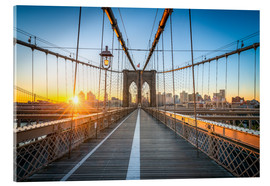 Acrylglasbild  Brooklyn Bridge bei Sonnenaufgang vor der Skyline von Brooklyn - Jan Christopher Becke